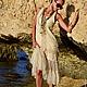 Алина Сапогова. Авторское пляжное платье в стиле бохо ` Desert bird ` летнее бежевое платье бохо шик, платье с юбкой из фатина, платье в стиле шебби шик. Фотограф Александр Сапогов