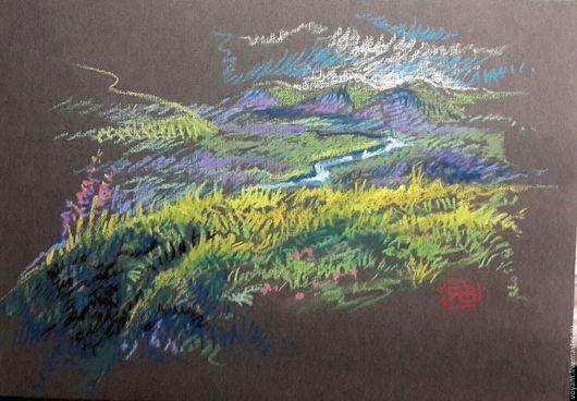 Пейзаж ручной работы. Ярмарка Мастеров - ручная работа. Купить пастель речная долина. Handmade. Ярко-зелёный, путешествие