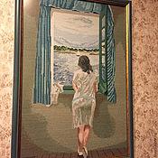 Картины и панно ручной работы. Ярмарка Мастеров - ручная работа Вышитая картина Сальвадор Дали Фигура у окна. Handmade.
