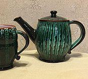 """Посуда ручной работы. Ярмарка Мастеров - ручная работа Чайник с чашкой """"Зелёный шум"""". Handmade."""