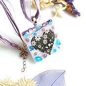 Украшения handmade. Livemaster - original item Pendant: glass Blooming lilac, fusing jewelry, heart pendant. Handmade.