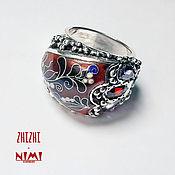 Кольцо из серебра с цирконами и перегородчатой эмалью