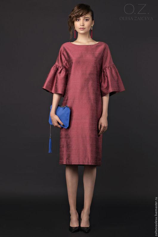 Платья ручной работы. Ярмарка Мастеров - ручная работа. Купить Платье из шелка с оборками. Handmade. Однотонный, марсала, платье коктейльное
