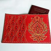 Канцелярские товары handmade. Livemaster - original item Passport cover genuine leather Red Fire painting. Handmade.