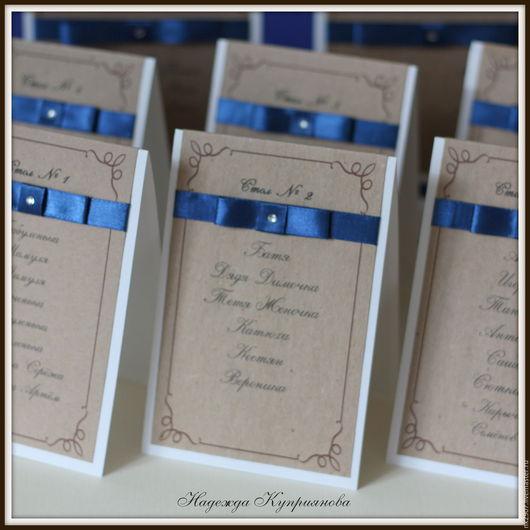 Свадебные аксессуары ручной работы. Ярмарка Мастеров - ручная работа. Купить Номерки-списки на столы с двойным бантом. Handmade.