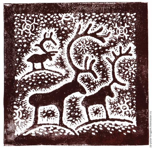 Животные ручной работы. Ярмарка Мастеров - ручная работа. Купить Линогравюра Северный мотив. Handmade. Коричневый, гравюра, анималистика, графика