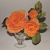 """Цветы и флористика ручной работы. Ярмарка Мастеров - ручная работа Бутоньерка из трех роз """"Красотка"""". Handmade."""
