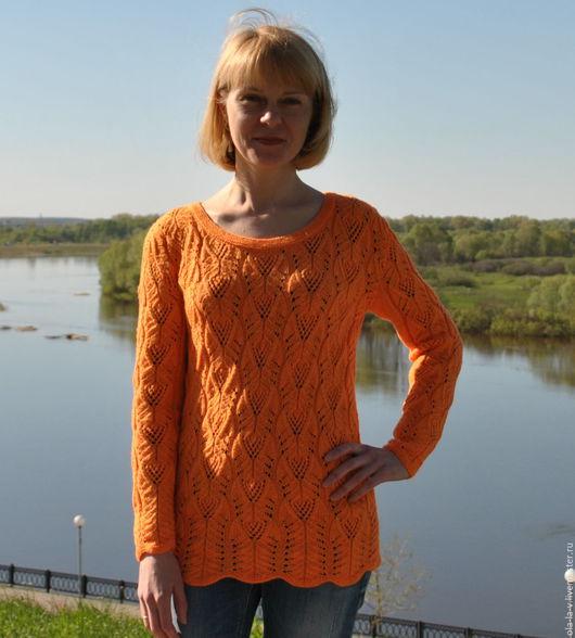 """Кофты и свитера ручной работы. Ярмарка Мастеров - ручная работа. Купить Пуловер """"Оранжевое настроение"""". Handmade. Оранжевый, нежный"""
