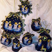 """Елочные игрушки ручной работы. Ярмарка Мастеров - ручная работа Набор елочных игрушек """"Рождественская ночь"""". Handmade."""