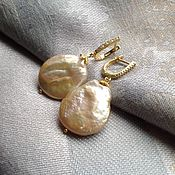 Украшения handmade. Livemaster - original item Gold plated earrings with pearls