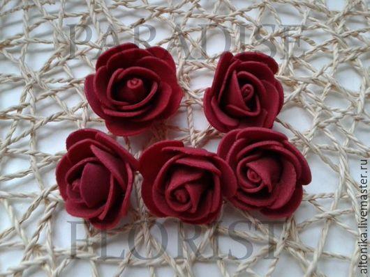 Материалы для флористики ручной работы. Ярмарка Мастеров - ручная работа. Купить Роза из фоамирана, латекса 3 см. Handmade. Бордовый