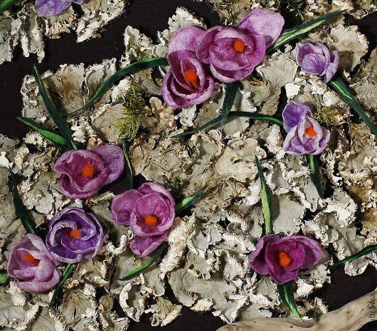 """Картины цветов ручной работы. Ярмарка Мастеров - ручная работа. Купить Картина - панно - """"Крокусы"""". Handmade. Фиолетовый, крокусы"""