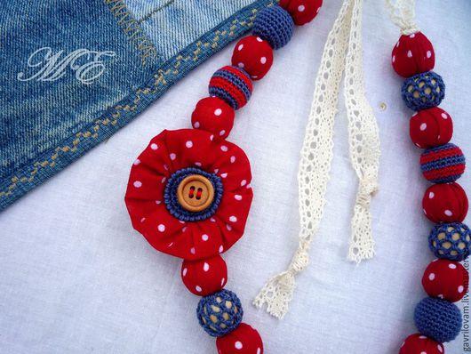 Слингобусы ручной работы. Ярмарка Мастеров - ручная работа. Купить Бусы текстильно-вязаные в красный горошек (2). Handmade.