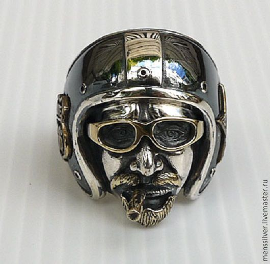 Тяжелое мужское байкерское Серебряное кольцо `Дорога 66`