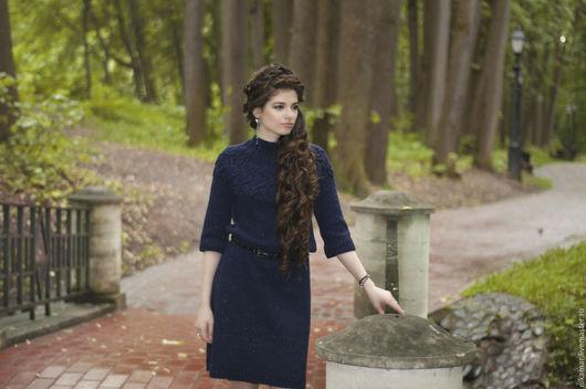 """Платья ручной работы. Ярмарка Мастеров - ручная работа. Купить Платье """"Звездное небо-2"""". Handmade. Тёмно-синий, шерсть"""