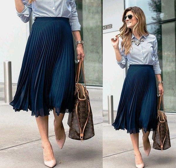 Dark blue pleated chiffon skirt, Skirts, Moscow,  Фото №1