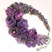 Украшения handmade. Livemaster - original item Blackberry Velvet Choker Natural Stones Amethyst Agate Removable Flowers. Handmade.