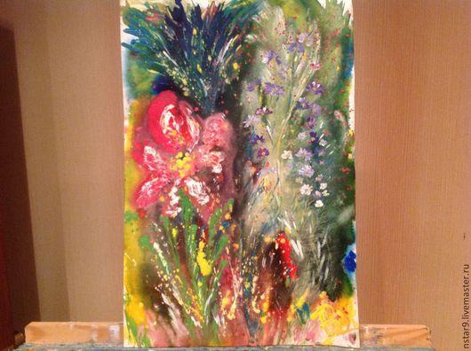 Картины цветов ручной работы. Ярмарка Мастеров - ручная работа. Купить Аленький цветочек. Handmade. Ярко-красный, подарок женщине