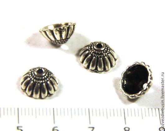 Для украшений ручной работы. Ярмарка Мастеров - ручная работа. Купить Пара шапочек для бусин, полукруг с полосками, цвет античное серебро. Handmade.