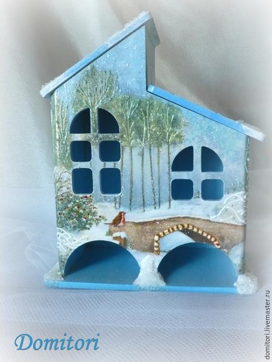 """Персональные подарки ручной работы. Ярмарка Мастеров - ручная работа. Купить Чайный домик """"Зимний сон"""". Handmade. Голубой"""