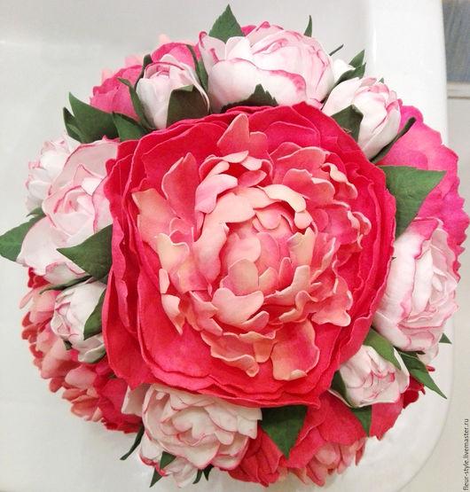 """Свадебные цветы ручной работы. Ярмарка Мастеров - ручная работа. Купить Букет невесты """"Пионы"""". Handmade. Розовый, для девушки, цветы"""