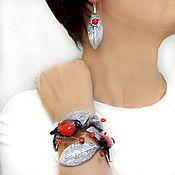 Украшения handmade. Livemaster - original item Bracelet and earrings bullfinches (polymer clay and glass). Handmade.