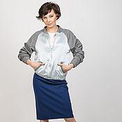 """Одежда ручной работы. Ярмарка Мастеров - ручная работа Бомбер """"Морской стиль"""" из голубого атласа с серыми рукавами. Handmade."""