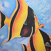 """Аксессуары ручной работы. Ярмарка Мастеров - ручная работа Парео """"Морские глубины"""". Handmade."""