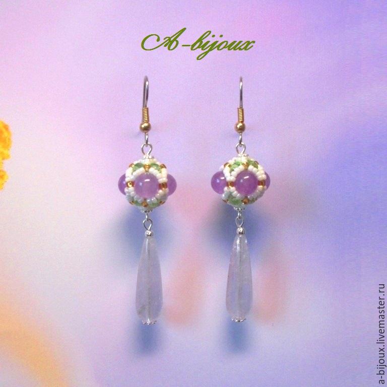 Earrings - Violets, Earrings, Moscow,  Фото №1