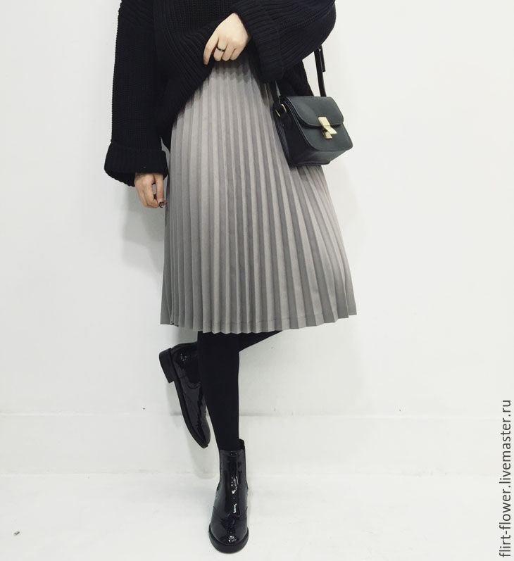 Купить юбка черная плиссе