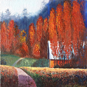 Pictures and panels handmade. Livemaster - original item Oil painting: Autumn on the farm. Handmade.