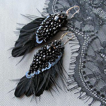 Украшения ручной работы. Ярмарка Мастеров - ручная работа Серьги-крылья Темный ангел. Handmade.