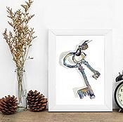 """Картины и панно ручной работы. Ярмарка Мастеров - ручная работа Акварельный принт """"Ключики"""". Handmade."""