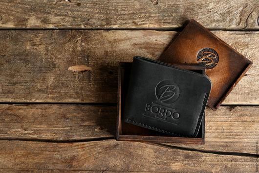 Кошельки и визитницы ручной работы. Ярмарка Мастеров - ручная работа. Купить Бумажник из натуральной кожи ручной работы. Черный кошелек. Handmade.