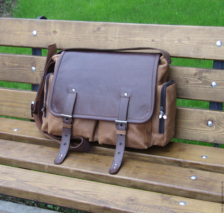 Men's leather messenger bag SAFARI sand-cognac color, Crossbody bag, Izhevsk,  Фото №1