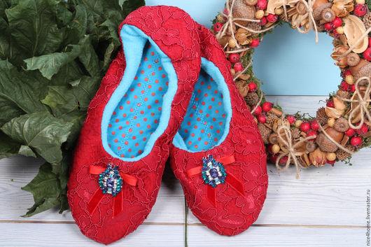 """Обувь ручной работы. Ярмарка Мастеров - ручная работа. Купить Тапочки домашние ручной работы """"Яркая звезда"""". Handmade."""