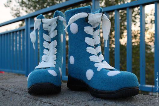 """Обувь ручной работы. Ярмарка Мастеров - ручная работа. Купить Валяные ботинки """"Горохи"""". Handmade. Тёмно-бирюзовый, горохи"""
