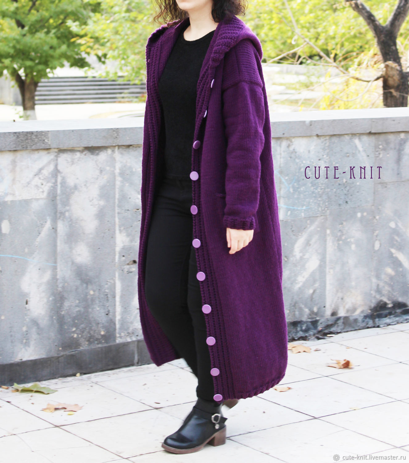 To better visualize the model, click on the photo CUTE-KNIT NAT Onipchenko Fair masters to Buy long hooded cardigan purple