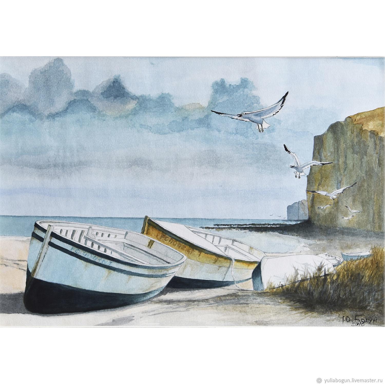 Watercolor 'Fisherman's beach', Pictures, Belorechensk,  Фото №1