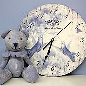 """Для дома и интерьера ручной работы. Ярмарка Мастеров - ручная работа Набор часы и мишка """"Bleu de Blanc"""". Handmade."""