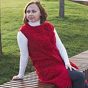 Одежда ручной работы. Ярмарка Мастеров - ручная работа Жилет валяный красный с карманами. Handmade.