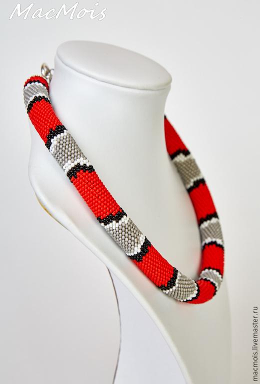 """Колье, бусы ручной работы. Ярмарка Мастеров - ручная работа. Купить Жгут """"Молочная змея"""". Handmade. Разноцветный, жгуты из бисера"""