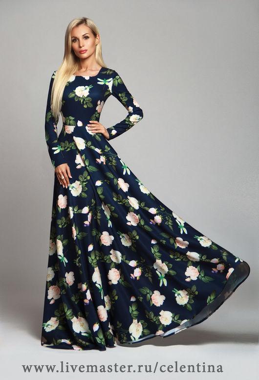 Темно синее платье, цветочное платье, вечернее платье, длинное платье, платье в пол, нарядное платье, осеннее платье, модное платье, весеннее платье, теплое платье, платье на выход, 2 цвета!
