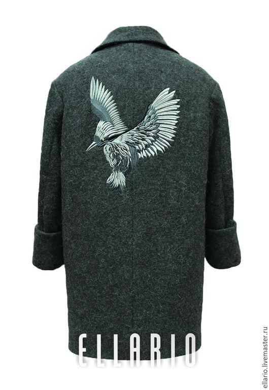 """Верхняя одежда ручной работы. Ярмарка Мастеров - ручная работа. Купить Пальто с вышивкой """"Птица"""". Handmade. Темно-серый, осень"""