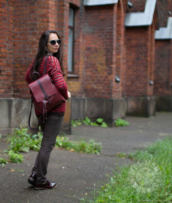Рюкзаки ручной работы. Ярмарка Мастеров - ручная работа. Купить Рюкзак женский кожаный бордовый ЛЕССИ WES MONT Ручная работа. Handmade.