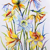 Pictures handmade. Livemaster - original item Watercolor Daffodils - spring Gift painting flowers. Handmade.