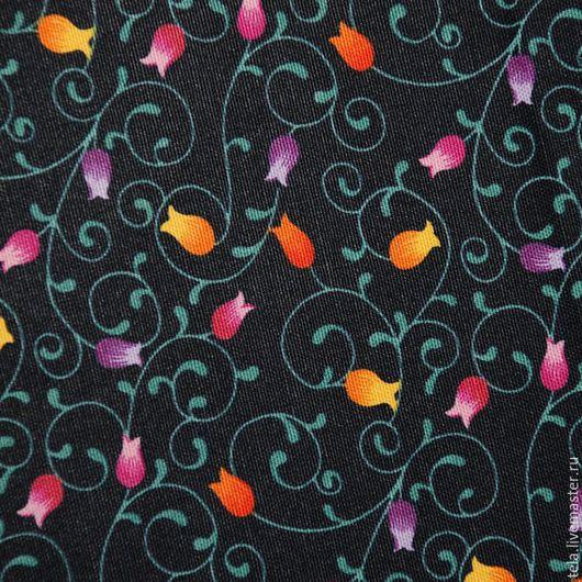 Цветы на черном фоне. Хлопок 100%. Ткань для шитья, рукоделия.  Есть в наличии.