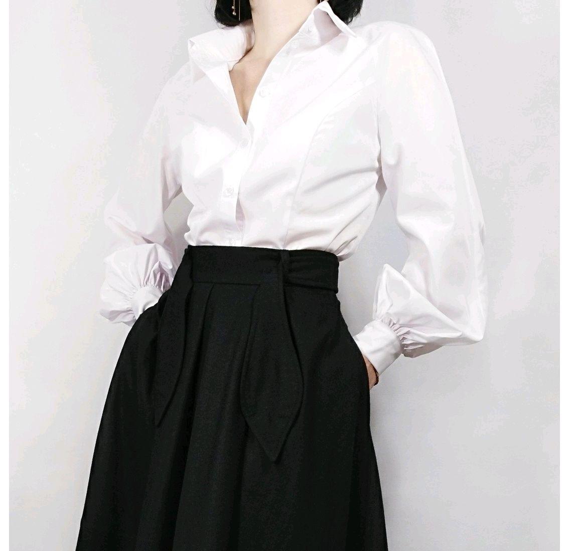 8a22c2362ca Блузки ручной работы. Ярмарка Мастеров - ручная работа. Купить Белая блузка  с пышными рукавами ...