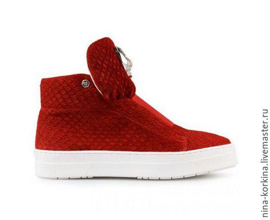 Обувь ручной работы. Ярмарка Мастеров - ручная работа. Купить Кеды. Handmade. Ярко-красный, женская обувь