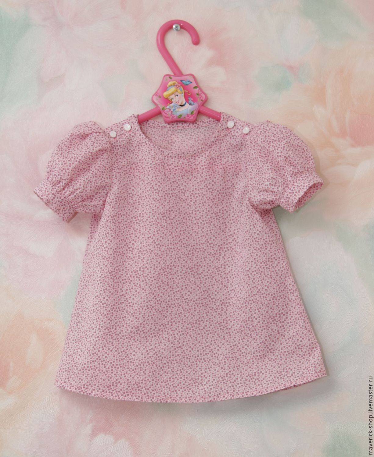 Blouse with pink polka dots for girls made of cotton with sleeves, Singlet, Moscow,  Фото №1